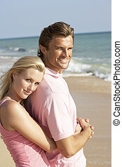apprécier, couple, vacances, plage, jeune