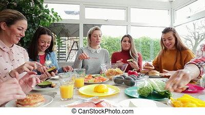 apprécier, ensemble, déjeuner