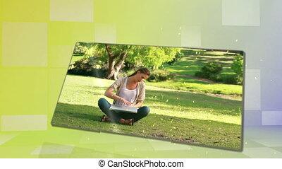 apprécier, femme, parc