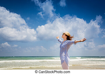 apprécier, femme, plage, heureux
