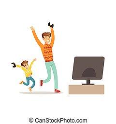apprécier, gens, jouer, avoir, heureux, père, jeu, jeu, vidéo, amusement, informatique, fils, partie, intérieur, gamers, enjôleur, console