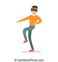 apprécier, gens, jouer, avoir, marche, réalité, heureux, jeu, lunettes, jeu, vidéo, amusement, informatique, virtuel, partie, intérieur, gamers, type