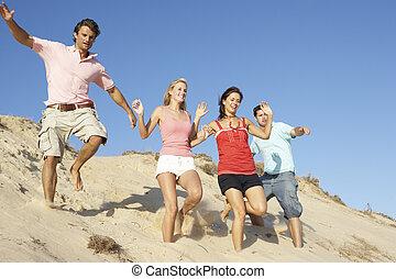 apprécier, groupe, dunes, plage, bas, courant, vacances, amis