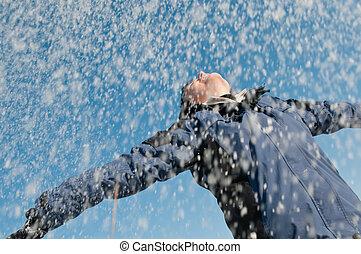 apprécier, hiver, -, femme, lancement, neige
