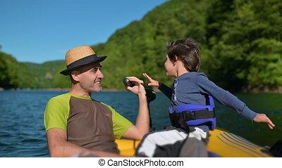 apprécier, père, bateau, fils, cavalcade