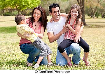 apprécier, parc, famille, heureux