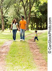 apprécier, parc, famille, promenade