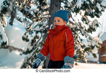 apprécier, petite fille, hiver