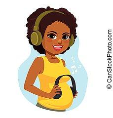 apprécier, pregnant, noir, musique, femme