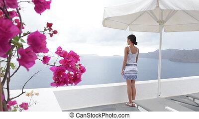 apprécier, voyageur, touriste, santorini, vue, femme, -