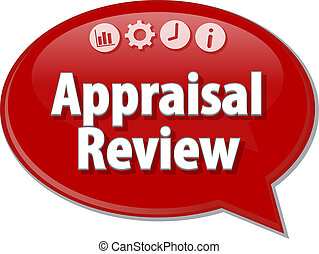 Speech bubble dialog illustration of business term saying Appraisal Review