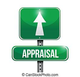 appraisal road sign illustrations design over white