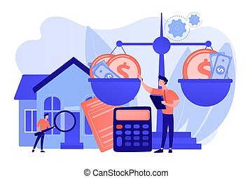 Real estate agency, property selling and buying. Financial consulting. Appraisal services, property valuation, appraisal professionals concept. Pink coral blue vector isolated illustration