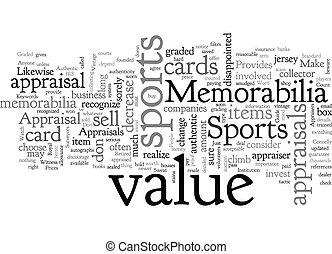 Appraisals for Sports Memorabilia text background wordcloud concept