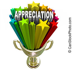 An employee, customer or partner is awarded with this golden trophy with stars and the word Appreciation shooting out of it in recognition of outstanding effort, loyalty or hard work performed on a difficult task