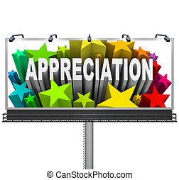 An outdoor billboard communications appreciation and recognition for an outstanding achievement and a job well done