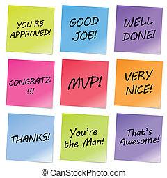 Appreciation Notes - Colorful notes with appreciative words.