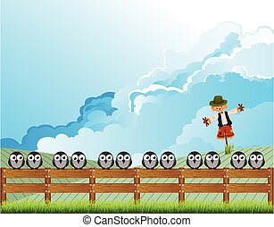 Apprehensive flock of birds perched on a fence deterred from feeding on farmers land by a scarecrow with cloudy blue sky above
