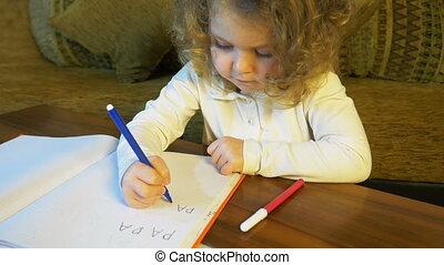 apprend, additionnel, écrire, enfant, maison, education