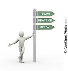 apprendre, améliorer, 3d, homme, pratique, roadsign