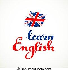 apprendre, anglaise, calligraphic, inscription, sur, a, fond blanc