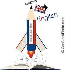 apprendre, anglaise, education, conception, blanc, papier
