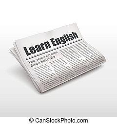 apprendre, anglaise, mots, sur, journal