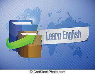 apprendre, illustration, signe, livre, conception, anglaise