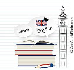 apprendre, papier, conception, anglaise, blanc, education