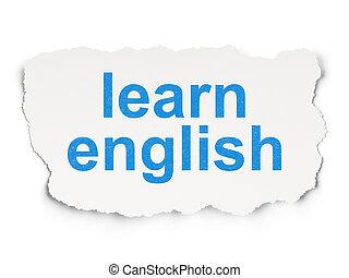 apprendre, papier, fond, anglaise, education, concept: