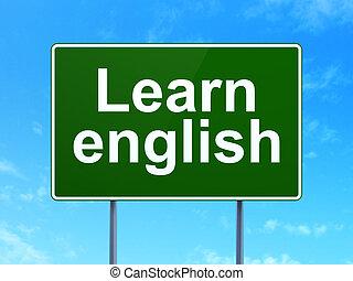 apprendre, signe, route, fond, anglaise, education, concept: