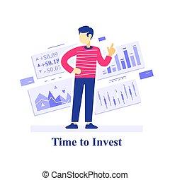 apprendre, stratégie, concept, temps, investissement, stockage, investir, commerce, marché, évaluation, réussi