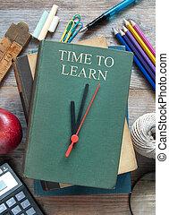 apprendre, temps, couverture, livre, horloge