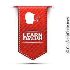 apprendre, vecteur, conception, anglaise, bannière, rouges