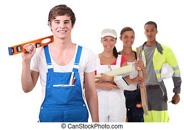 apprenti, artisan, tenue, niveau