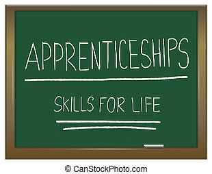 Illustration depicting a green chalkboard with APPRENTICESHIP SKILLS FOR LIFE written on it in white.