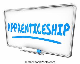 Apprenticeship On the Job Learning Dry Erase Board 3d Illustration
