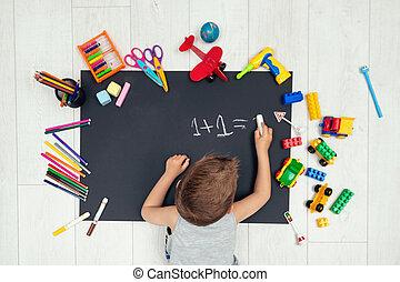 apprentissage, écrire, numbers., petit garçon, math