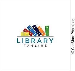 apprentissage, bibliothèque, template., intelligent, logo, livre, vecteur, conception, école, images, education