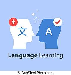 apprentissage, communication, traduire, international, grossier, linguistics, langue, concept
