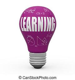 apprentissage, concept, ampoule, lumière