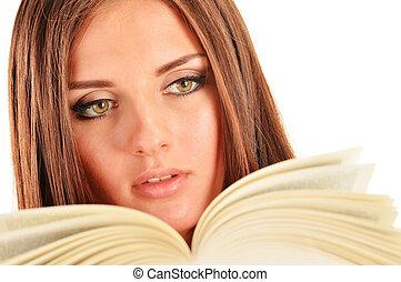 apprentissage, femme, étudiant, jeune, book., femme, lecture