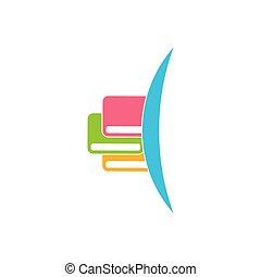 apprentissage, global, logo, vecteur, livre, courbes, education