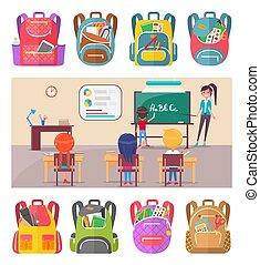 apprentissage, lettres, eduquer leçon, prof, enfants