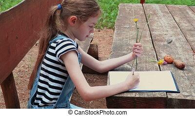 apprentissage, parc, girl, usines, peu, fleurs