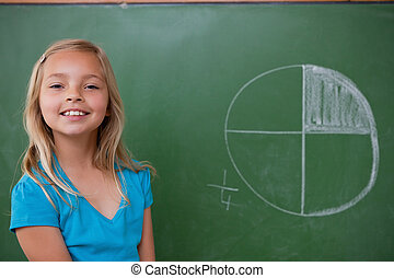apprentissage, sourire, écolière, divisions