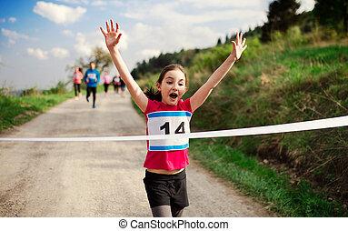 appretur, läufer, nature., konkurrenz, klein, rennen, überfahrt, m�dchen, linie