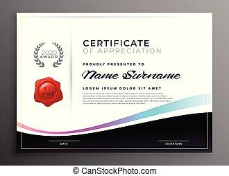 apprezzamento, sagoma, diploma, certificato, elegante