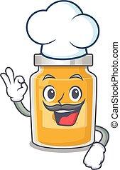 appricot, fehér, betű, kalap, dolgozó, séf, karikatúra, fárasztó