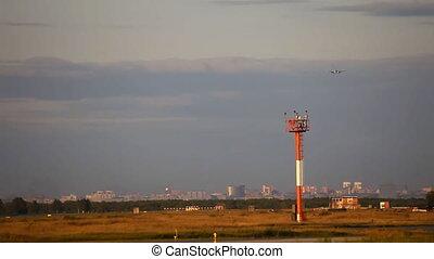 Approach. - Airbus A-320 jet plane landing, Tolmachevo...